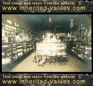 antique real photo postcard retail store interior