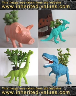 plastic animal planters