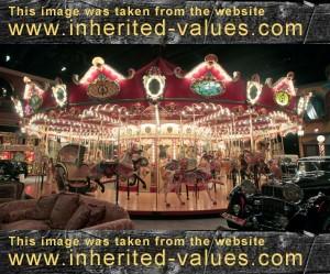 custom-built Milhous carousel with 42 hand-carved animals