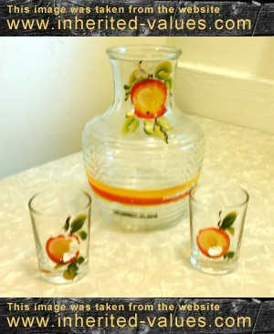 depression glass orange juice set anchor hocking carafe