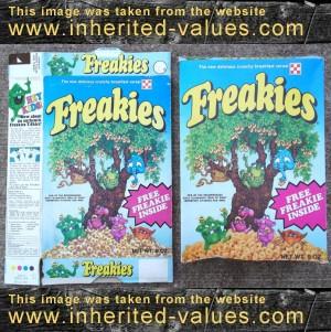 1973 freakies cereal box