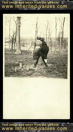 Girlfriends RPPC Real photo postcard circa 1910