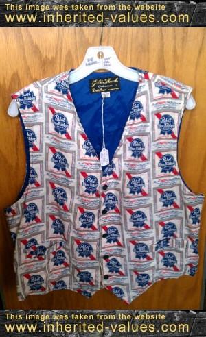 vintage brill bros milwaukee pabst blue ribbon beer vest