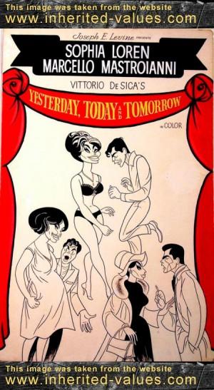 JOHN J. LOMASNEY movie art poster sophia loren Yesterday, Today, and Tomorrow