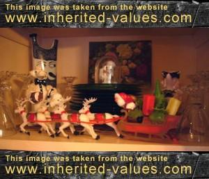 vintage santa reindeer and sleigh