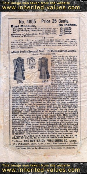 1899 Butterick Pattern - Ladies Double Breasted Coat