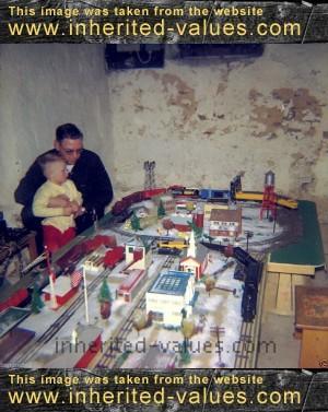 1950s christmas model train set up photo – Inherited Values