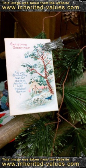 display vintage ephemera with vintage christmas tree candle clips