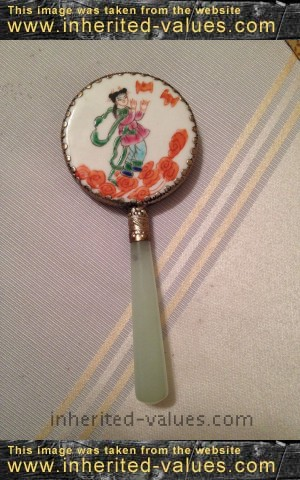 Vintage Chinese Celadon Jade Hand Painted Porcelain Petite Vanity Mirror Geisha