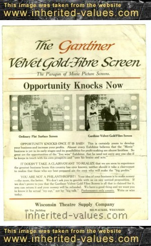 Gardiner Velvet Gold-Fibre Screen Wisconsin Theatre Supply Company Advertising