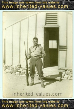vintage wwi solider with gun photo