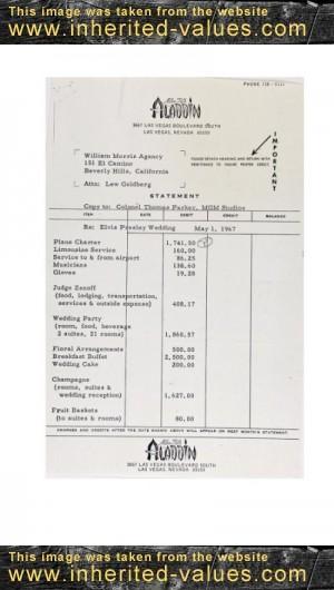 vintage receipt for elvis wedding vegas aladdin ephemera