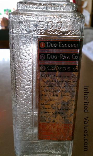 art deco vintage esco embalming bottle label
